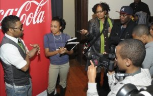 Erica interviewing Grammy award-winning Musiq Soulchild on the set of 'Bull Talk', JCSU's piloted online news show.
