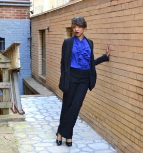 Susan Graver Blouse – $7.00 – QVC StoreTalbots Slacks – $13.70 – Talbots (Outlet)Blazer (My Splurge) – $38.00 – Express